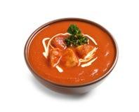 Puchar wyśmienicie masło kurczak na bielu Tradycyjny hindus Murgh Makhani obraz stock