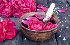 Puchar z czerwieni róży płatkami na tle ciemne drewniane deski i istotny olej z różami fotografia stock