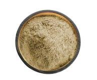 Puchar z konopianym proteina proszkiem na białym tle zdjęcia stock