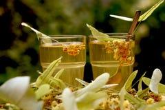 pucharu kwiatów szklanego linden stołu herbaciany tilia drewniany Zdjęcie Stock