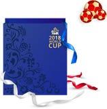 Pucharu Świata Rosja 2018 karta z torba na zakupy royalty ilustracja