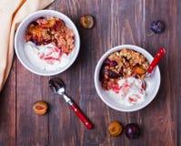 Puchary z healty oatmeal rozdrobnią z śliwkami i jogurtem, Zdjęcia Stock