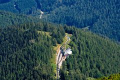 PUCHBERG, AUSTRIA, - AUGUST 9, 2018: Aerial view from Schneeberg mountain to rack railway named Salamander station. stock photography