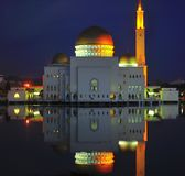 Puchong Perdana Mosque. In Malaysia. The mosque floats on the lake, it is a floating mosque. The reflection of the mosque can be seen on the lake. The picture royalty free stock photos