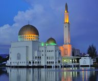 Puchong Perdana Mosque. S in Malaysia. The mosque floats on the lake, it is a floating mosque. The reflection of the mosque can be seen on the lake. The picture Royalty Free Stock Images