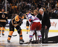 Puck Ceremony at TD Garden, Boston, MA. Stock Image