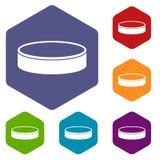 Puck icons set hexagon Royalty Free Stock Photo