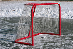 Puck in the net Royalty Free Stock Images