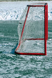 Puck in the net Stock Photo