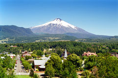 Pucon and Villarica Volcano, Chile royalty free stock photography