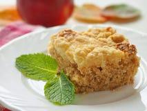Pudín de Apple Empanada hecha en casa de la migaja adornada con la hoja de la menta fresca Torta de las frutas del otoño foto de archivo libre de regalías