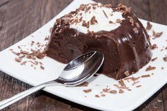 Pudín de chocolate hecho fresco imagen de archivo
