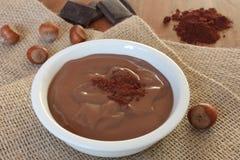 Pudín de la avellana del chocolate imagenes de archivo
