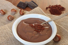 Pudín de la avellana del chocolate foto de archivo