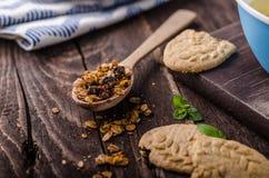 Pudín de vainilla con el granola hecho en casa Foto de archivo libre de regalías