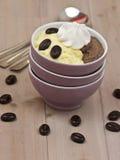Pudín de vainilla y pudín de chocolate Imagen de archivo libre de regalías