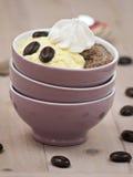 Pudín de vainilla y pudín de chocolate Fotografía de archivo