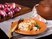 Pudín del pan de la alcachofa, Budin de alcachofas Foto de archivo libre de regalías