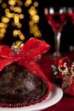 Pudín y árbol de navidad de ciruelo imágenes de archivo libres de regalías