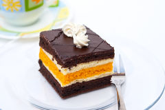 Pudding cake slices. Chocolate pudding cake with whipped cream Stock Photography