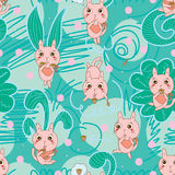 Pudding cat seamless pattern Royalty Free Stock Photography