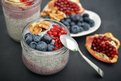Pudding with chia seeds Stock Photos