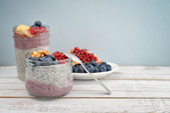 Pudding with chia seeds Royalty Free Stock Photos