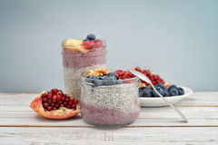 Pudding with chia seeds Stock Photo