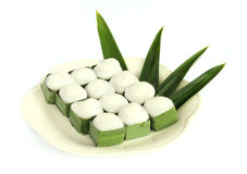 Pudding with coconut topping. And pandanus leaf Stock Images