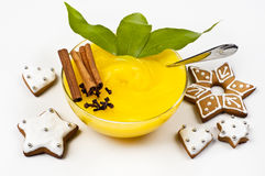 Pudding and cookies Royalty Free Stock Photo