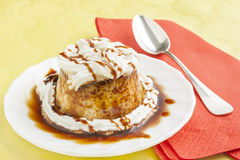 Pudding with cream and syrup stock photo