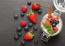 Pudding de Chia avec du lait et des baies de noix de coco Vue supérieure Images libres de droits