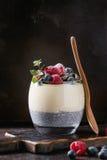 Pudding de Chia avec le gruau de riz Images libres de droits