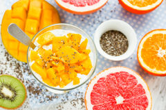 Pudding de chia de mangue avec les agrumes frais pour le petit déjeuner, dietar Images stock