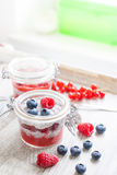 Pudding de graine de Chia avec des baies Photo stock