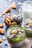 Pudding de graine de Chia avec du lait d'amande et l'écrimage de fruit frais Photos stock