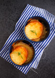 Pudding de pain avec du fromage Photos libres de droits