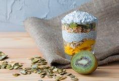 Pudding de vanille sain d'un chia dans un verre avec la granola, la mangue et un kiwi photos libres de droits