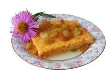 Pudding di carota e del formaggio con l'uva passa Fotografia Stock