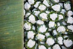 Pudding doux de dessert de nom de dessert thaïlandais thaïlandais de Kanom Tako- avec la Co Photographie stock