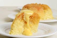Pudding et crème anglaise de mélasse Images stock