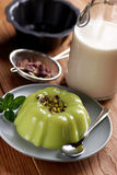 Pudding flavored with pistachio Royalty Free Stock Photography