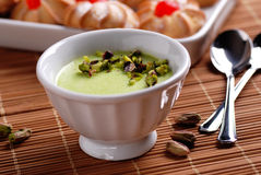 Pudding flavored with pistachio Royalty Free Stock Photos