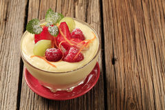 Pudding and fruit Royalty Free Stock Photo