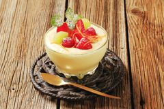 Pudding and fruit Royalty Free Stock Image