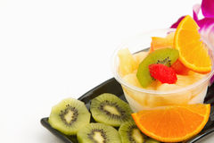 Pudding fruit salad fusion dessert Royalty Free Stock Photos