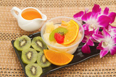 Pudding fruit salad with orange juice Royalty Free Stock Photos