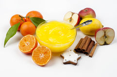 Pudding and fruits Stock Images