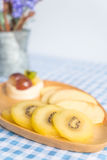 Pudding fruits with kiwi and apple Stock Images