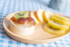 Pudding fruits with kiwi and apple Royalty Free Stock Image